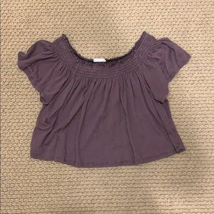 purple off the shoulder top
